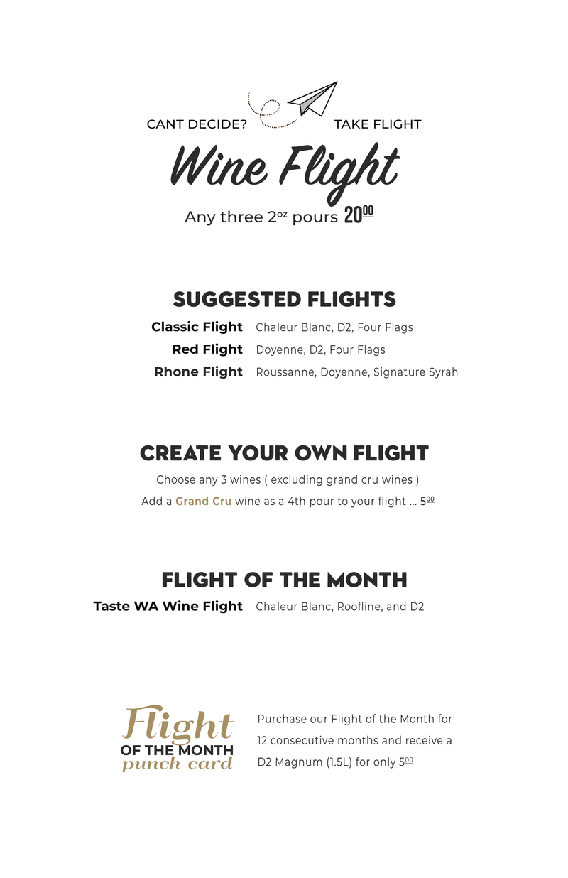 Wine Flights Menu