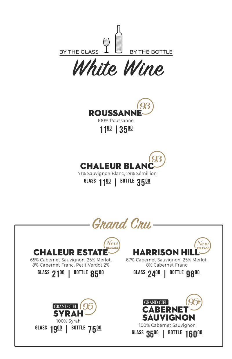 White Wine Menu