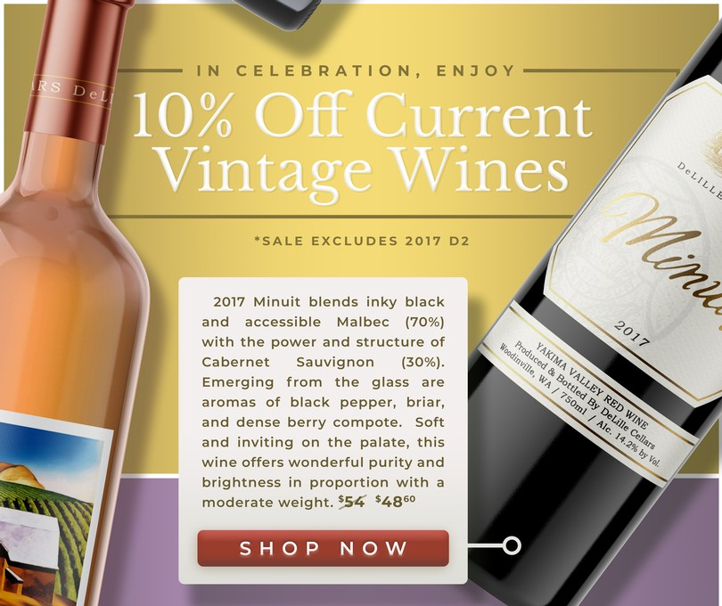 In Celebration, Enjoy 10% Off All Current Vintage Wines *Excludes 2017 D2