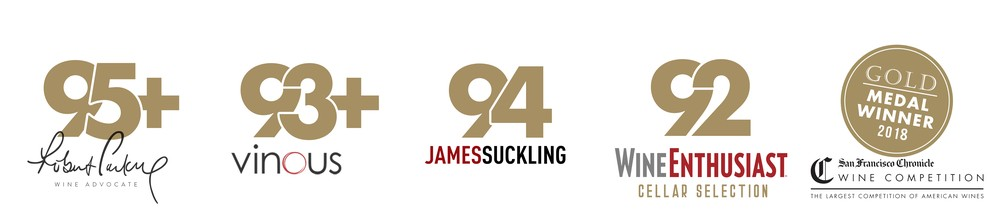 95+ Points Robert Parker, 93+ Points Vinous, 94 Points James Suckling, 92 Points Wine Enthusiast Cellar Selection, Gold Medal Winner 2018  San Francisco Chronicle
