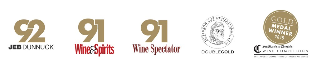 92 Jeb Dunnuck, 91 Wine and Spirits, 92 Points Wine Spectator, Jefferson Cup Invitational DoubleGold, San Francisco Chronicle Gold Medal Winner 2019