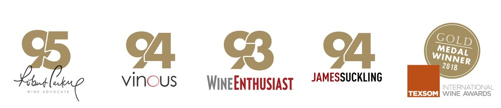 95 Points Robert Parker, 94 Points Vinous, 93 Points WineEnthusiast, 94 Points James Suckling, Gold Metal Texsom 2018