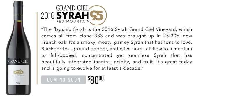 2016 Grand Ciel Syrah scores 95 Points!